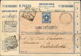 56021 Italia, Cartolina Vaglia 10c. 1902 Da Palermo (piazza Della Borsa) - Entero Postal