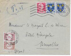 Lettre Taxée 1956 Avec Oblitération Nogent Le Rotrou  Avec 2 Timbres Taxe TE BETALEN Belgique 1F Et 0,40 C - Postage Due