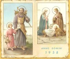 Anno Domini 1958 Kalender Blanchart Binche Heiligenprentje Holy Card  Santini Image Pieuse Religieuse - Santini
