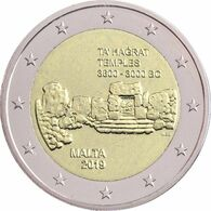 """MALTA  2€  2.019  2019  """"TA HAGRAT TEMPLES 3600 - 3000 BC""""  SC/UNC   T-DL-12.460 - Malte"""