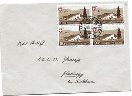 79 - 11 - Enveloppe Avec Bloc De 4 Timbre Pro Patria - Cachet à Date Uetikon 1945 - Pro Patria