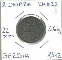 Gh4 Serbia 2 Dinara 1942. KM#32 - Serbia