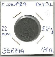 Gh5 Serbia 2 Dinara 1942. KM#32 - Serbia