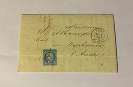 Lettre Affranchie à 25c En étoile De Paris N°30 Sur N°60a - 1849-1876: Classic Period