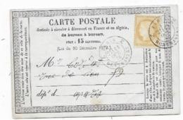 Carte Précurseur 1876 Timbre FR N° 59 Cachet PARIS 2 MONTMARTRE 2 - 1849-1876: Période Classique
