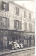 """""""POISSY ANGLE RUE DE PARIS ET RUE DU PAIN (pas Visible)""""CAFE DU COMMERCE-CAFE DE LA RENAISSANCE Maison BOULIN.CARTE ANIM - Lieux"""