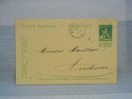 BELGIQUE - EP 5c LION VERT - OBLITERE ANDENNE ET HERMALLE SS HUY 1914  + N°3 - Entiers Postaux