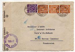 Allemagne --1946--Devant De Lettre Censurée De Wuppertal  Pour Mont De Marsan-40 (France)-- Cachets + Bande De Censure - American/British Zone