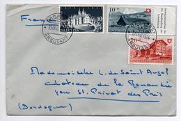 Suisse -1948--Lettre De Suisse Pour St Privat Des Bois-24 (France)-- Cachet Ambulant--composition De Timbres - Lettres & Documents