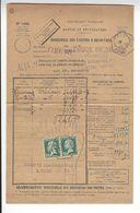 BORDEREAU DES VALEURS A RECOUVRER SEPTEMBRE 1927 TYPE PASTEUR X2 0,60 FRANC TELEGRAPHE /FREE SHIPPING REGISTERED - Postage Due Covers