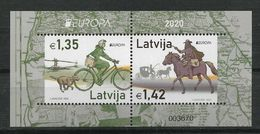 "LATVIA/Lettland  EUROPA 2020 ""Ancient Postal Routes"" Minisheet** - 2020"
