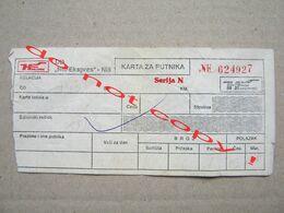 """Yugoslavia / Bus Ticket / Niš - Vranje """" Niš-Ekspres """" - Bus"""