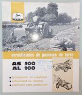 DÉPLIANT COMMERCIAL TRACTEUR JOHN DEERE ARRACHEUSES DE POMME DE TERRE AS 100 AL 100 - Tractors
