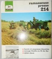 PROSPECTUS DÉPLIANT DOCUMENT PUBLICITAIRE JOHN DEERE MATÉRIEL AGRICOLE TRACTEUR RAMASSEUSE PRESSE 214 - Do-it-yourself / Technical