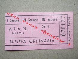 Italy / BIGLIETTO ATAN NAPOLI TARIFFA ORDINARIA - Serie 8 - Bus