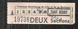 Tramways électriques De Lille Et Sa Banlieue Ticket De Transport Tarif Réduit - Tram