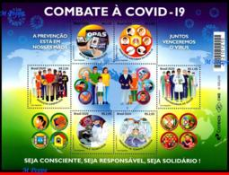 Ref. BR-V2020-08 BRAZIL 2020 HEALTH, FIGHTING COVID-19,, EPIDEMIC,  PREVENTION TO THE VIRUS, MNH, 6V - Blocks & Sheetlets