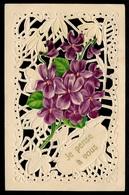 CPA AK Fantaisie Gaufrée Dentelles Ajourée FLEURS Violettes ** Flowers - Blumen
