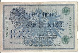ALLEMAGNE 100 MARK 1908 VF P 34 - [ 2] 1871-1918 : Impero Tedesco