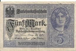 ALLEMAGNE 5 MARK 1917 VF P 56 - [ 2] 1871-1918 : Impero Tedesco