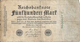 ALLEMAGNE 500 MARK 1922 VG+ P 74 - [ 3] 1918-1933 : Repubblica  Di Weimar