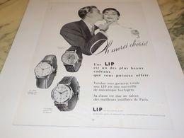 ANCIENNE PUBLICITE OH MERCI CHERIE MONTRE C EST UNE LIP  1955 - Bijoux & Horlogerie