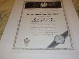 ANCIENNE PUBLICITE OBSERVATOIRE DE NEUCHATEL ET   MONTRE ZENITH  1955 - Bijoux & Horlogerie