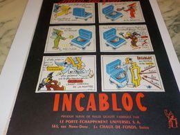 ANCIENNE  PUBLICITE JADIS LES FEES ET  INCABLOC 1954 - Bijoux & Horlogerie