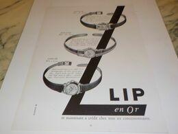 ANCIENNE PUBLICITE EN OR MONTRE  LIP  1955 - Bijoux & Horlogerie