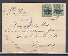 Brief Van Meslin L'Eveque (sterstempel) Naar Bruxelles Gepruft - Guerre 14-18