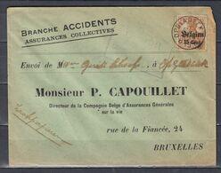 Brief Van Opglabbeek (sterstempel) Naar Bruxelles Branche Accidents Assurances Collectives - Guerre 14-18
