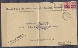Briefstuk Van Moignelee (sterstempel) Naar Bruxelles - Guerre 14-18