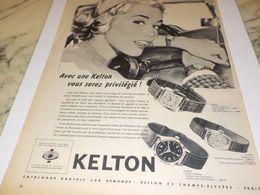 ANCIENNE PUBLICITE PRIVILEGIE MONTRE KELTON  1958 - Andere