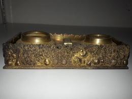 Encrier Double Recipient En Bronze - Inkwells