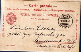 ENTIER POSTAL 1899 - POSTE A SCHULS - - Entiers Postaux