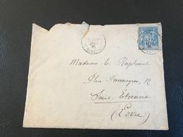 Enveloppe - 1885 - PARIS Rue Bonaparte Pour SAINT ETIENNE - Timbre 15c Sage Y&T N°90 - Marcophilie (Lettres)