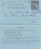 TELEGRAMME CHAPLAIN 50c. 24 AVRIL 86. LE COMTE DE FAYOLLE - Pneumatiques