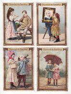 Chromo  CHOCOLAT DU PLANTEUR    Lot De 4    Enfants, Cadre, Parapluie Etc     12.6 X 9.1 Cm - Chocolate