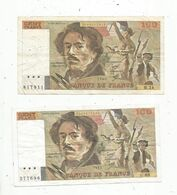 Billet , France , Eugéne Delacroix , 1980 Et 1984 ,cent ,100 Francs,  2 Scans, LOT DE 2 BILLETS - 1962-1997 ''Francs''