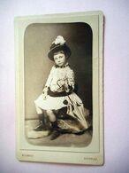 PHOTO CDV 19 EME JEANNE DUPUY JEUNE FILLE AU PARAPLUIE ET AU CHAPEAU Cabinet DETRAZ  A ANGOULEME - Anciennes (Av. 1900)
