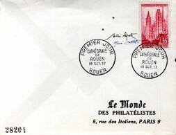 LETTRE 1ER JOUR 1957 - CATHEDRALE DE ROUEN - SIGNATURES DES GRAVEURS DU TIMBRE : SPITZ ET COTTET - Kerken En Kathedralen