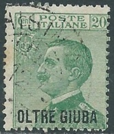1925 OLTRE GIUBA USATO EFFIGIE 20 CENT - CZ18-4 - Oltre Giuba