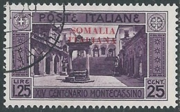 1929 SOMALIA USATO MONTECASSINO 1,25 LIRE - CZ20-3 - Somalia