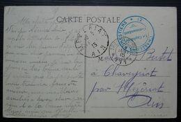 1914, 12e Chasseurs Forestiers Trésor Et Postes 111, Cachet Bleu Sur Carte De Chaveyriat Côté Mézériat, Carte Animée - Guerre De 1914-18