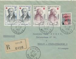 France, Lettre Recommandé Dieuze Moselle 18-12-1959 Vers Berlin – Timbres Croix Rouge - Francia