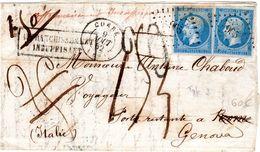 N° 14 X 2 Sur Lettre Au Depart De Corre Pour Genes Italie En Poste Restante Et Taxee - 1849-1876: Période Classique