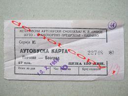 """Yugoslavia / Bus Ticket / Pančevo - Beograd """" ATP Pančevo """" ( 1959 ) - Bus"""