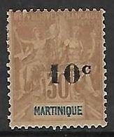 """MARTINIQUE N°52 N*  Variété Type 2 """"c"""" En Forme De Barre - Martinica (1886-1947)"""