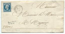 N° 14 BLEU NAPOLEON SUR LETTRE / MAS CABARDES POUR MAZAMET / 2 NOV 1857 / TEXTE DU MAIRE - Marcophilie (Lettres)