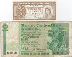 Hong Kong : Lot De 2 Billets : 1 Cent QEII (UNC) + 10 Dollars 1990 (état Courant) - Hongkong